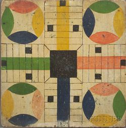 Painted Wooden Parcheesi Game Board